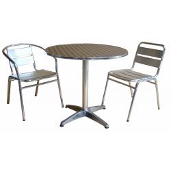 Lot de 1 table 70 x 70 cm + 2 chaises aluminium de couleur (Même couleur ou panachée)