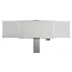 Tableau tryptique réglable en hauteur - version manuelle émaillé blanc - 1 x 2 m