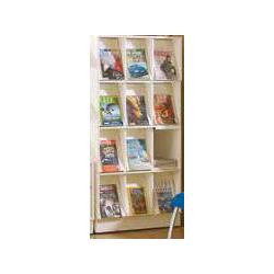 Présentoir Biblos à périodiques 12 cases avec stockage initial simple face