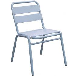 Lot de 4 chaises en finition aluminium anodisé couleur bleu gris 0607