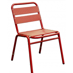 Lot de 4 chaises en finition aluminium anodisé couleur rouge 0614