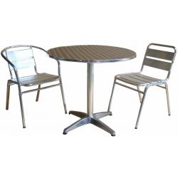 Lot de 1 table Ø 80 cm + 4 chaises aluminium de couleur (Même couleur ou panachée)