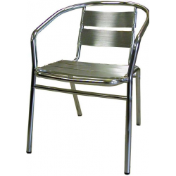 Lot de 4 fauteuils en finition aluminium anodisé