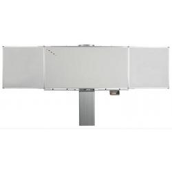Tableau tryptique réglable en hauteur - version manuelle émaillé blanc - 1,2 x 2 m