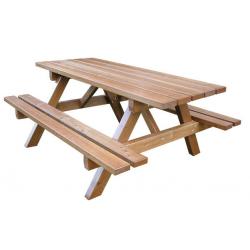 Table Jura en bois teinté acajou doré