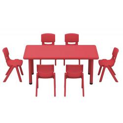 Lot de 1 table 120 x 60 cm + 4 chaises