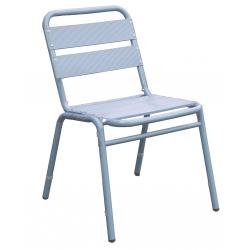Lot de 2 chaises en finition aluminium couleur bleu gris 0607