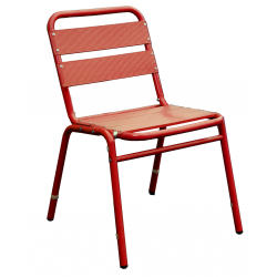 Lot de 2 chaises en finition aluminium anodisé couleur rouge 0614